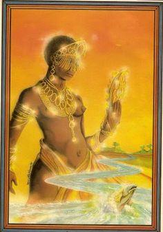 Mãe-de-ouro - Representada por uma bola de fogo que indica os locais onde se encontra jazidas de ouro. Também aparece em alguns mitos como sendo uma mulher luminosa que voa pelos ares. Em alguns locais do Brasil, toma a forma de uma mulher bonita que habita cavernas e após atrair homens casados, os faz largar suas famílias.