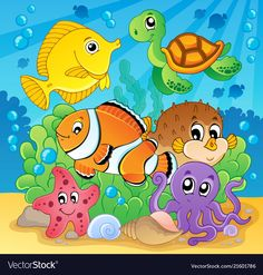 Image with undersea theme 6 - vector illustration Foto de archivo - 15191269 Art Drawings For Kids, Cartoon Drawings, Animal Drawings, Art For Kids, Cartoon Sea Animals, Cartoon Fish, Farm Animal Coloring Pages, School Murals, Under The Sea Theme