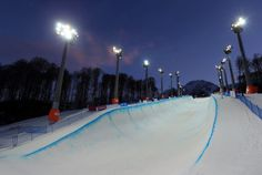 The half-pipe — which will host bobsled and skiing events — at Rosa Khutor Extreme Park.