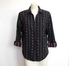 SOLD / #Vintage Black and Pink Southwestern Print by VelouriaVintage, $16.00