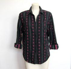 SOLD / #Vintage Black and Pink Southwestern Print by VelouriaVintage, $16.00