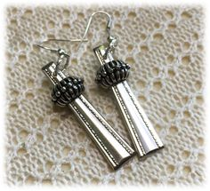 Upcycled Silverplate Earrings, Silver Beaded Detail, French Wire, Dangling Drop Earring, Monarch Silver Plate 1907 by RadishkasRetroRescue on Etsy
