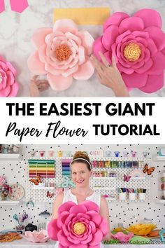 Paper Flower Patterns, Tissue Paper Flowers, Paper Flower Wall, Paper Flower Tutorial, Paper Roses, Wall Flowers, Diy Flowers, Diy Birthday Decorations, Paper Decorations