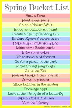 Bucket List For Kids and Families Spring Bucket List for Kids. Fun things to do with kids in spring. Learning and Exploring Through Play.Spring Bucket List for Kids. Fun things to do with kids in spring. Learning and Exploring Through Play. Spring Activities, Family Activities, Friend Activities, Toddler Activities, Bucket List Family, Spring Crafts, Summer Fun, Summer Bucket, Spring Bucket Lists