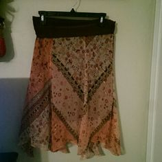 Beautiful brown and pink with gold thread skirt Flowing just below the knee length eye catching skirt. Elastic waist pull up. Very comfortable and pretty. Luna chix Skirts