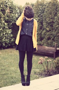 Mustard Yellow Cardigan, Dotted Blouse, Plateau Wedges. Too much black, not a huge fan of the shoes. But the blouse and cardigan, for sure.