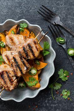 Grilled pork and sweet potatoes. http://www.jotainmaukasta.fi/2016/07/21/possua-vartaassa/