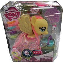 My Little Pony: Fashion Style Fluttershy by Hasbro. $32.99. Pony figure comes with cape, 4 shoes, comb, 5 hair barrettes, sunglasses and bracelet.. Fluttershy measures approx. 6 inches (15 cm) tall.. Style her long hair with flower barrettes. Your My Little Pony Fluttershy pony figure needs your help to look her very best! Comb her hair and then use the hair barrettes to give her an extra special look. Will you accessorize your pony friend with her bracelet, too...