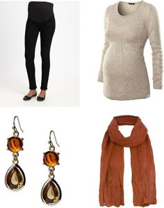 maternity leggings/skinny jeans with a long sweater and pumpkin-colored scarf...perfect for fall