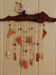 Stained Glass Driftwood Windchime by SunWindGlass on Etsy, $40.00