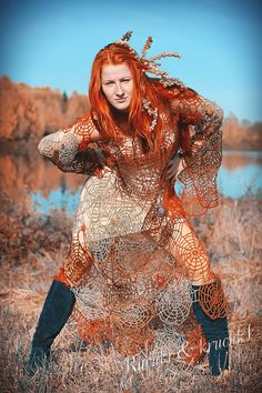 "Halloween designer crochet lace, beaded , felted and embrodered dress ""Mistress of autumnal spider-webs"" in pure wool"