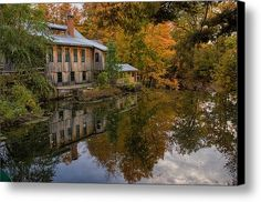 Hadley Upper Mill In Autumn Canvas Print / Canvas Art By Jeff Folger