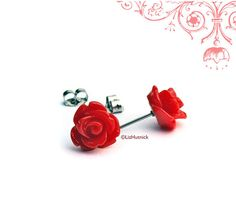 Red Rose Stud Earrings. Gothic Red Rosette Posts.