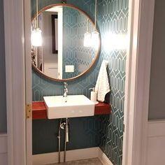 Blue Trail Studio on Instagram #powderoom #modernfarmhouse Modern Farmhouse, Trail, Mirror, Studio, Bathroom, Blue, Furniture, Instagram, Home Decor
