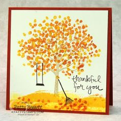 Stampin' Up! Sheltering Tree Fall handmade note card by Patty Bennett. #stampinup