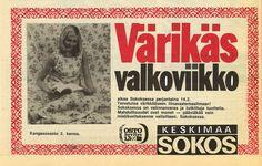 Värikäs valkoviikko Jyväskylän Sokoksen kangasosastolla. Mainos Keskimaa-lehdessä vuonna 1975.