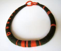 Artisanal Felt Necklace by catrinel777 on Etsy, $63.00