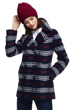 Women's+Plaid+Wool+Peacoat+from+Lands'+End