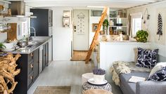 Our House Interior Designer Genevieve Gorder Transforms Seattle Houseboat for Netflix Series, Stay H Houseboat Decor, Houseboat Living, Houseboat Ideas, Interior Design Tv Shows, Small Houseboats, Genevieve Gorder, Boat Interior, Barge Interior, Interior Paint