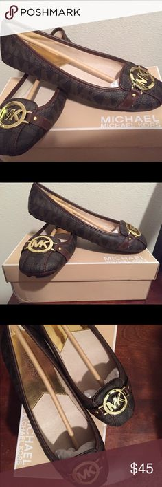 NIB Michael Kors Fulton Moccasins - NEVER WORN Darling Michael Kors Fulton style moccasins with brown signature MK print and gold embellishment. These sturdy flats were never worn and come in original box. Please comment if you would like more info! MICHAEL Michael Kors Shoes Flats & Loafers