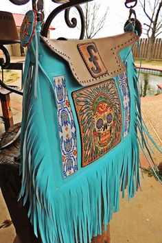 custom hand tooled leather leatherwork triesta by wild bleu fringe purse