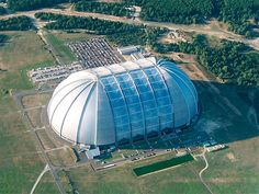 Tropical Islands Resort - south of Berlin, skinned with ETFE film. It's a former blimp hangar. The 'window' on it is square meters. Island Park, Island Resort, Transformers, Berlin Winter, Fantasy Island, The Weather Channel, Water Slides, Day Trips, Photos