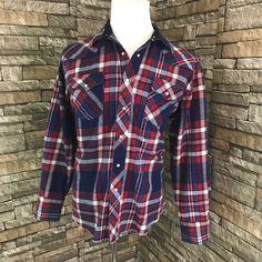 Wrangler Flannel Pearl Snap Shirt XL Red Blue White Mens Western Cowboy  | eBay
