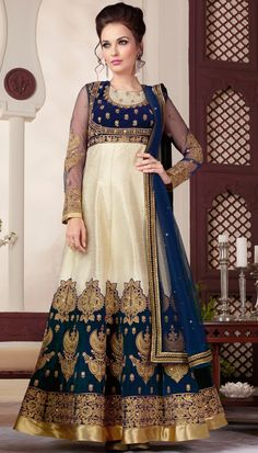Cream Teal Cotta Resham Stone Embroidered Beautiful Floor Length Anarkali Suit With Chiffon Dupatta