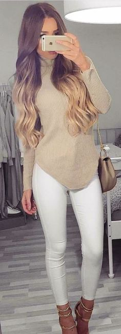 Pants outfit outfit idea summer outfits fall outfits winter outfits spring outfits cute outfits date outfit Cute Winter Outfits, Spring Outfits, Cute Outfits, Outfits For Teens, Casual Outfits, Look Fashion, Fashion Outfits, White Jeans Outfit, Pants Outfit