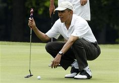 Mr. President on his birthday - golfing with precision!   ***See attached list of achievements (244) since elected President ~