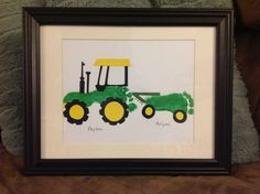 Footprint tractor for father's day Daycare Crafts, Baby Crafts, Toddler Crafts, Crafts To Do, Crafts For Kids, Grandpa Birthday Gifts, Daddy Gifts, Grandpa Gifts, Handprint Art