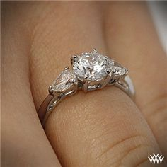Round and Pear 3 Stone Engagement Ring