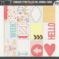 Digital Scrapbooking February Storyteller 2013 Journal Cards by Just Jaimee