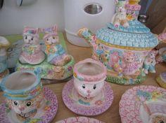 Easter China Tea Set  14pc by elvisgrl63 on Etsy
