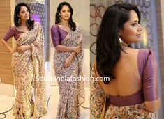 Anchor Anasuya attended Movie 50 Days Celebrations event wearing a printed chiffon saree with elbow length puff sleeves blouse. A pair of gold earrings and neutral makeup rounded out her look! Simple Saree Designs, Fancy Blouse Designs, Bridal Blouse Designs, Saree Jacket Designs, Saree Blouse Neck Designs, Blouse Designs Catalogue, Cotton Saree Designs, Stylish Blouse Design, Sumo
