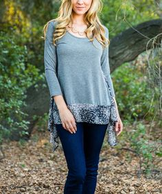 Look at this #zulilyfind! Charcoal Animal-Contrast Sidetail Top by Pinkblush #zulilyfinds