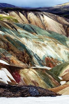 Mountains in Iceland. This looks like the messy palette that God forgot to clean after painting the rest of the world. Freaking gorgeous.