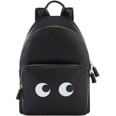 Anya Hindmarch Eyes Right Mini Black Backpack (£1,195) ❤ liked on Polyvore featuring bags, backpacks, backpack, bolsas, anya hindmarch, anya hindmarch bags, mini rucksack, miniature backpack and knapsack bag