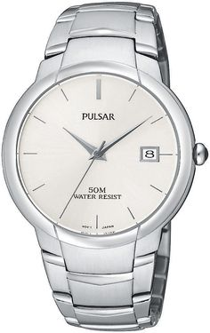 Pulsar Men's PXH625 Dress Silver-Tone Stainless Steel Watch. Quality Japanese-quartz movement. Silver-tone hour markers, silver-tone hour and minute hands, date window at three o'clock. Silver-tone stainless steel. Hardlex crystal. Water resistant to 165 feet (50 M): suitable for swimming and showering.