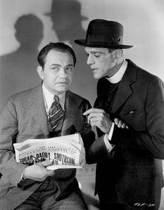 """Edward G. Robinson y Boris Karloff. Dos malotes en """"Five Star Final"""". En español se tradujo como """"Sed de Escándalo"""", 1931"""