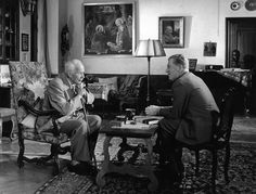 Professor Carl Gustav Jung and John Freeman in Jung's home in Zurich in 1959