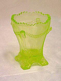 Deganhart Glass Vaseline Toothpick Holder.