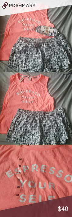 Victoria SECRET PJ set Never worn..been in my closet since I bought it. the top is the bright pink color and shorts are zebra print. super cute!! Victoria's Secret Intimates & Sleepwear Pajamas