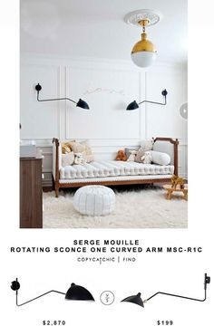 Serge Mouille Rotating Sconce One Curved Arm MSC-R1C