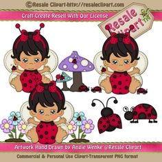 Baby Girl Lady Bug 2 Clipart Digital Download by MaddieZee on Etsy