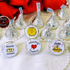 """Personalized Hershey's chocolate Kisses will make a tasty impression at any event! We DO NOT sell Hershey's Kisses, only the adhesive personalized labels.Easy Assembly: Peel the personalized adhesive label from the sheet, place on bottom of Hershey's Kiss. Presto! Each sheet comes with 108 labels, that's less than .05 cents each!Kiss labels are 0.75"""" in diameter, so there are character limitations per line. (Max. 12 characters.)"""