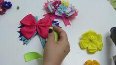 Lazo , moño  con flores kanzashi, Cono hacer flores kanzashi pequeñas