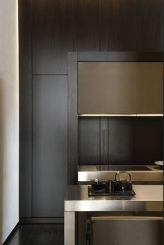 Contemporary Kitchen // Masculine, linear steel hood