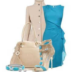 Fashion Style Combination -  a blend of beige and sky blue, a sky blue dress with wrap effect and layers, with beige coat, pocketbook, blue accessories, and a sky-blue/beige pumps.