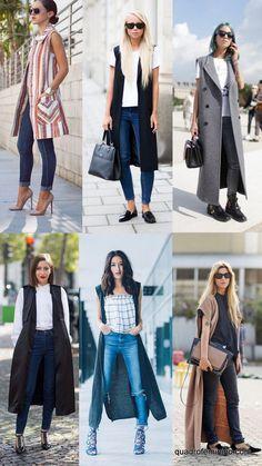 Colete alongado (2) Long Vest Outfit, Cardigan Outfits, Winter Outfits, Casual Outfits, Fashion Outfits, Outfit Vestidos, Sleeveless Coat, Iranian Women Fashion, Look Blazer